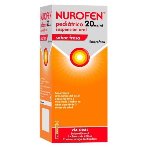 NUROFEN PEDIATRICO 20 MG/ML SUSPENSION ORAL SABOR FRESA ,  1 frasco de 200 ml