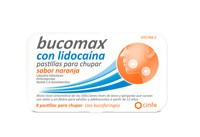 BUCOMAX CON LIDOCAINA PASTILLAS PARA CHUPAR SABOR NARANJA, 8 pastillas